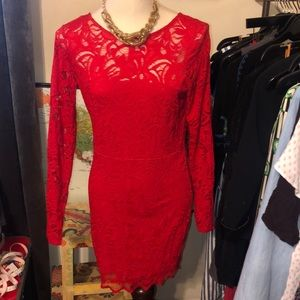 Sexy red lace long sleeve body con v back mini l